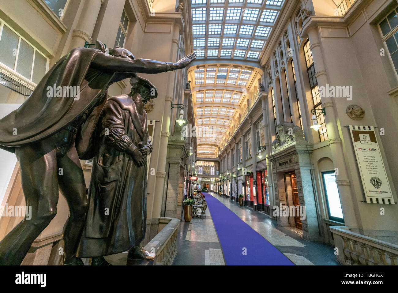 Madler Passage, Mephistopheles and Faust sculptures, Leipzig, Saxony, Germany, Europe - Stock Image