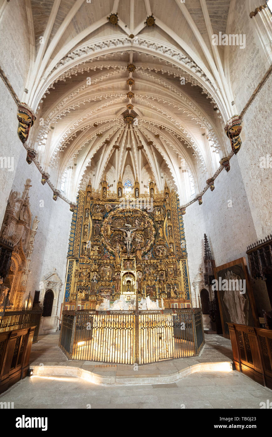 Burgos, Spain - April 13, 2019: Interior of Gothic monastery Cartuja de Miraflores in Burgos, Castilla y Leon, Spain. - Stock Image