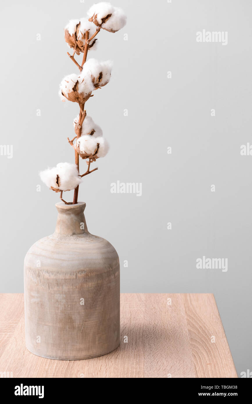 Cotton Flowers In Vase On Table Against Light Background Stock Photo Alamy