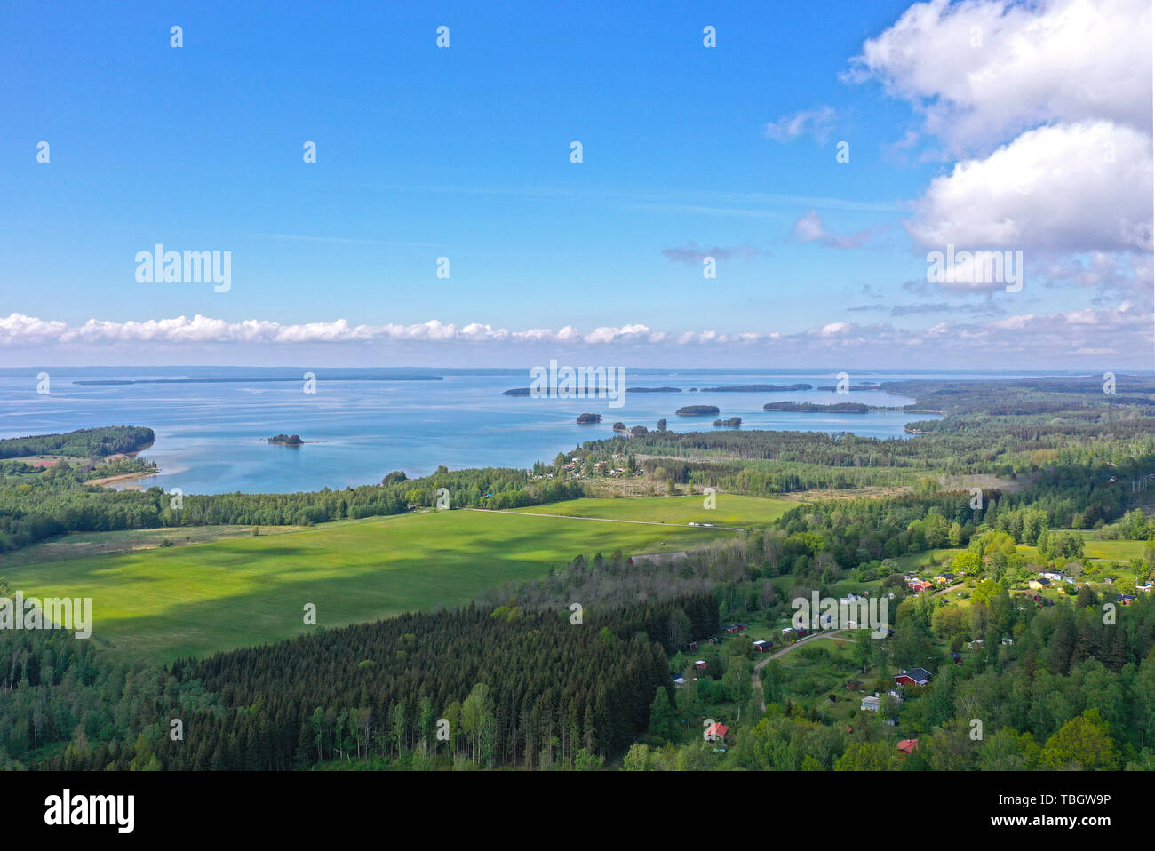 View of lake Vättern. - Stock Image