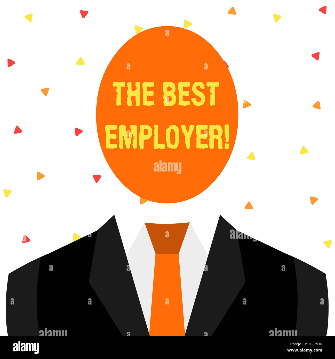 Writing note showing The Best Employer. Business concept for created workplace showing feel heard and empowered Symbolic Drawing Figure of Man Formal  - Stock Image