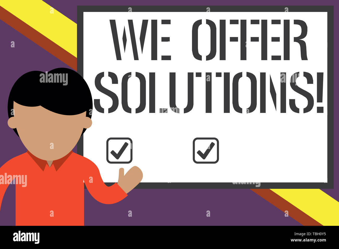 Writing note showing We Offer Solutions. Business concept for way to solve problem or deal with difficult situation Young man standing in front whiteb - Stock Image