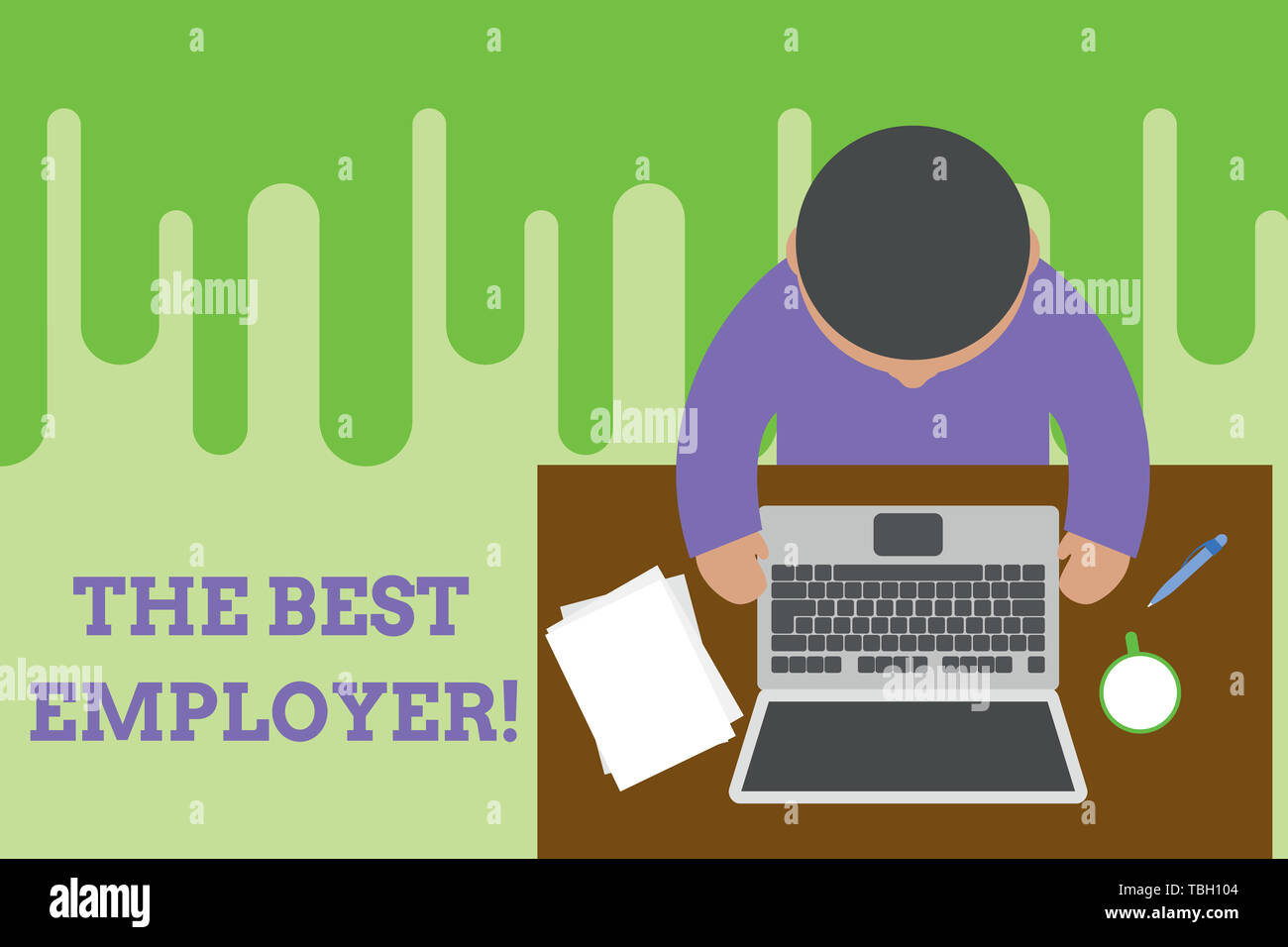 Conceptual hand writing showing The Best Employer. Concept meaning created workplace showing feel heard and empowered Upper view young man sitting tab - Stock Image