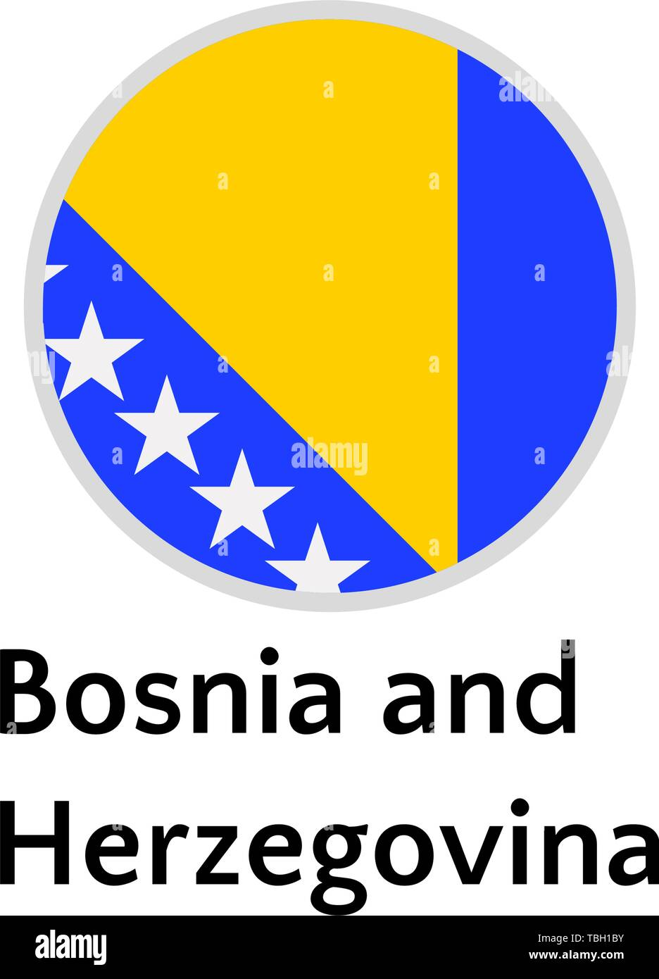 Bosnia and Herzegovina flag round flat icon, european country vector illustration - Stock Vector
