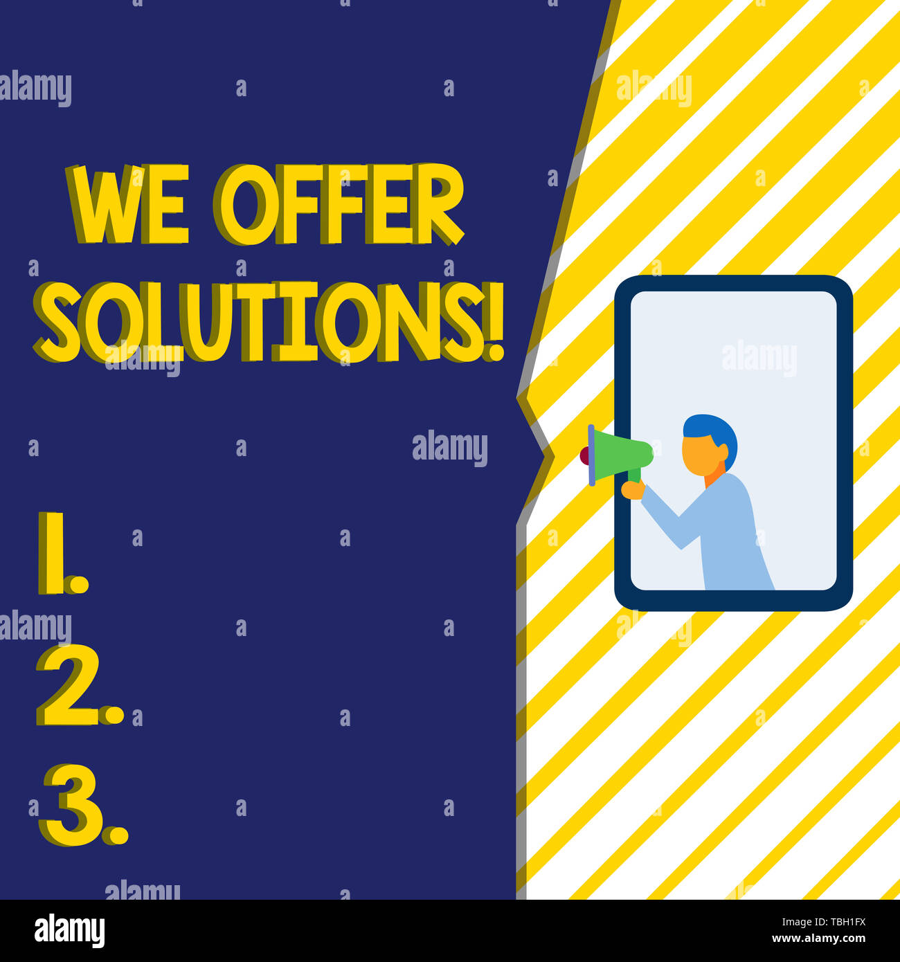 Writing note showing We Offer Solutions. Business concept for way to solve problem or deal with difficult situation Man stands in window hold loudspea - Stock Image