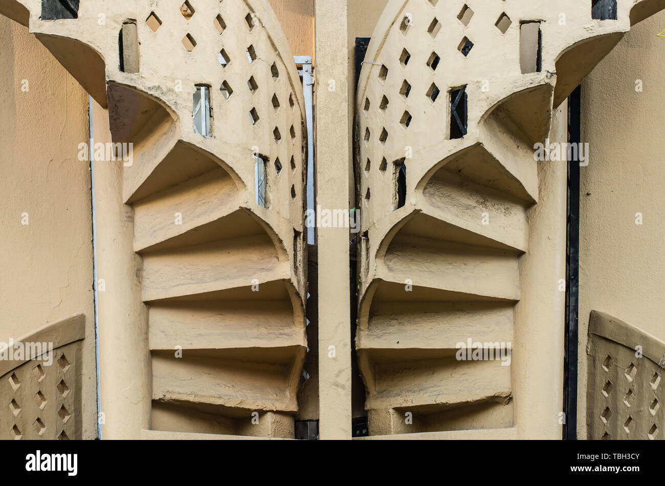 vintage building outdoor circle stairs - Stock Image