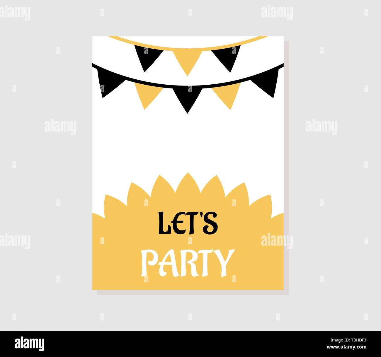 Simple Party Invitation Card Yellow Color Stock Vector Art