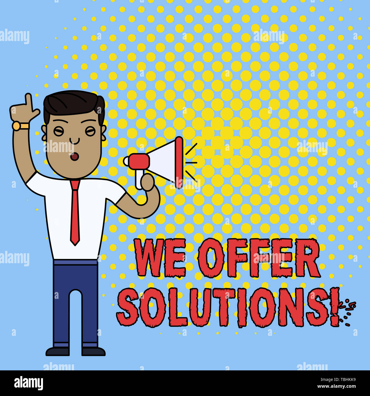Conceptual hand writing showing We Offer Solutions. Concept meaning way to solve problem or deal with difficult situation Man Standing with Raised Rig - Stock Image