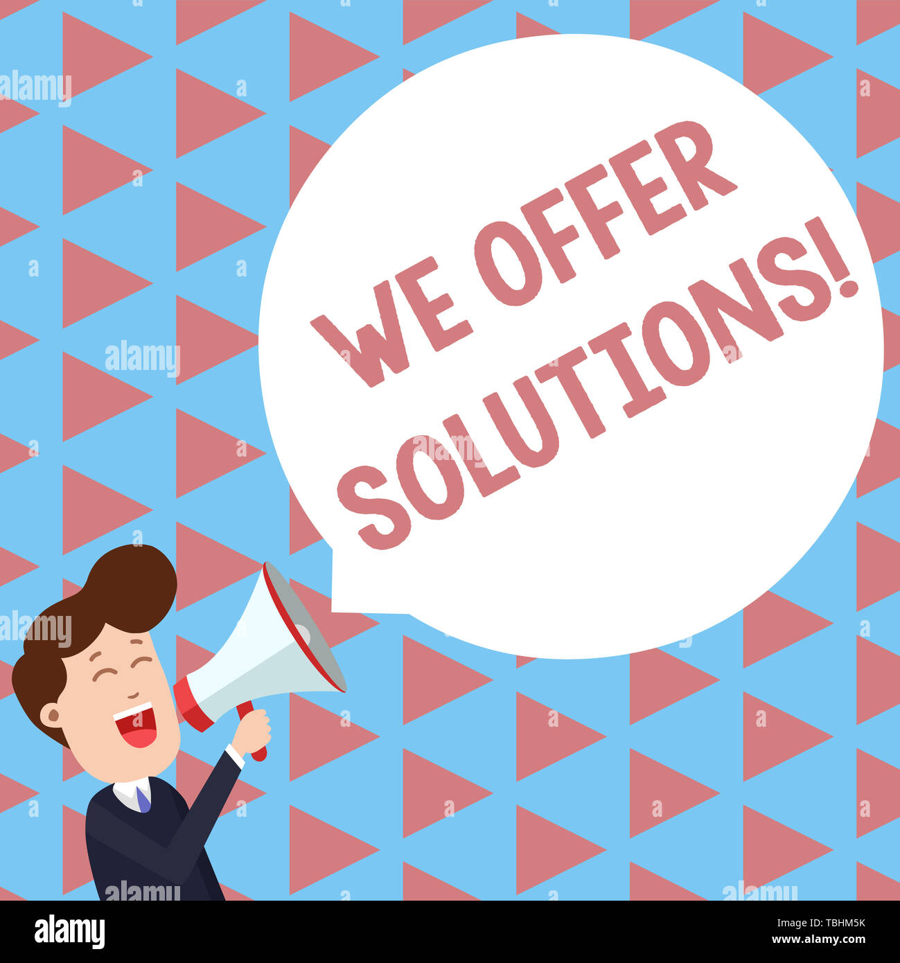Writing note showing We Offer Solutions. Business concept for way to solve problem or deal with difficult situation Young Man Shouting in Megaphone Fl - Stock Image
