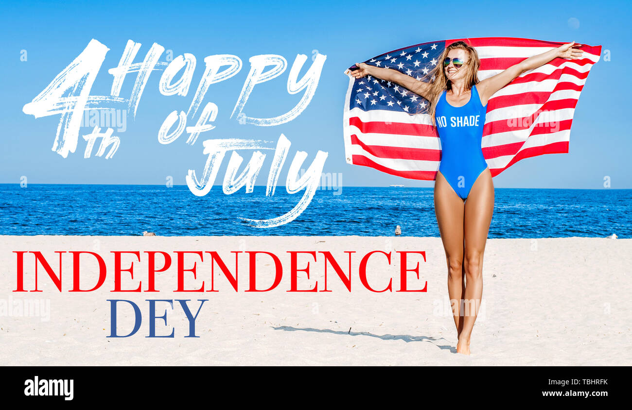 6333877580 USA Independence day, Happy 4th july. United States celebrate holiday 4th  of July. Young happy woman holding american flag on the beach.