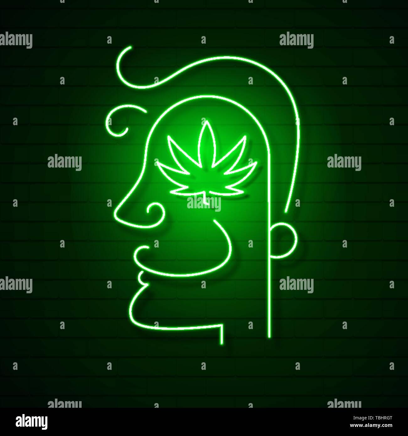 Medical Cannabis Logo With Marijuana Leaf Glowing Neon Sign Stock