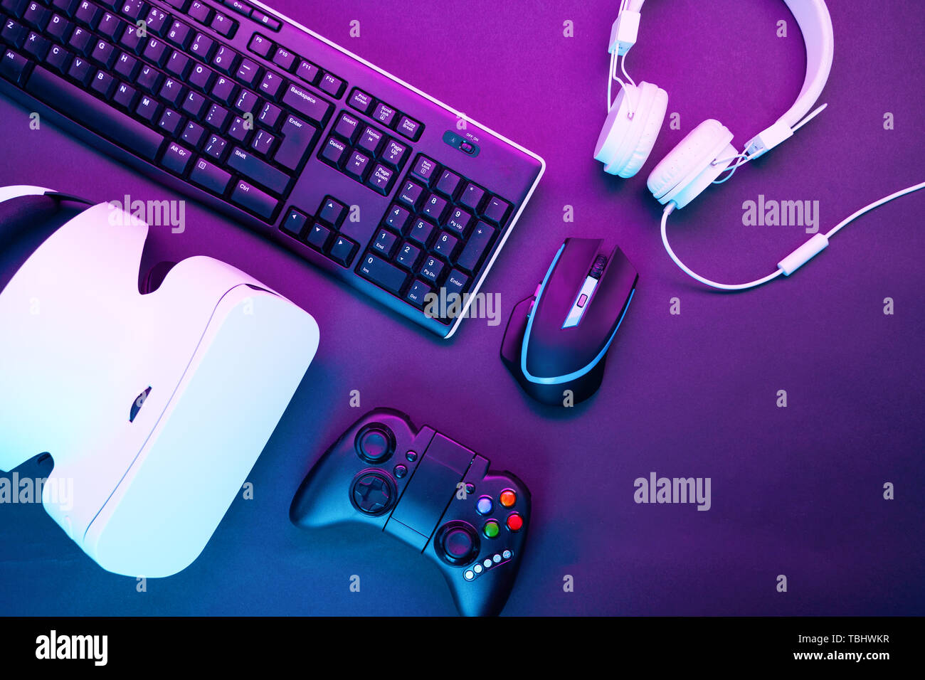 Keyboard, mouse, gamepad, virtual reality headset and