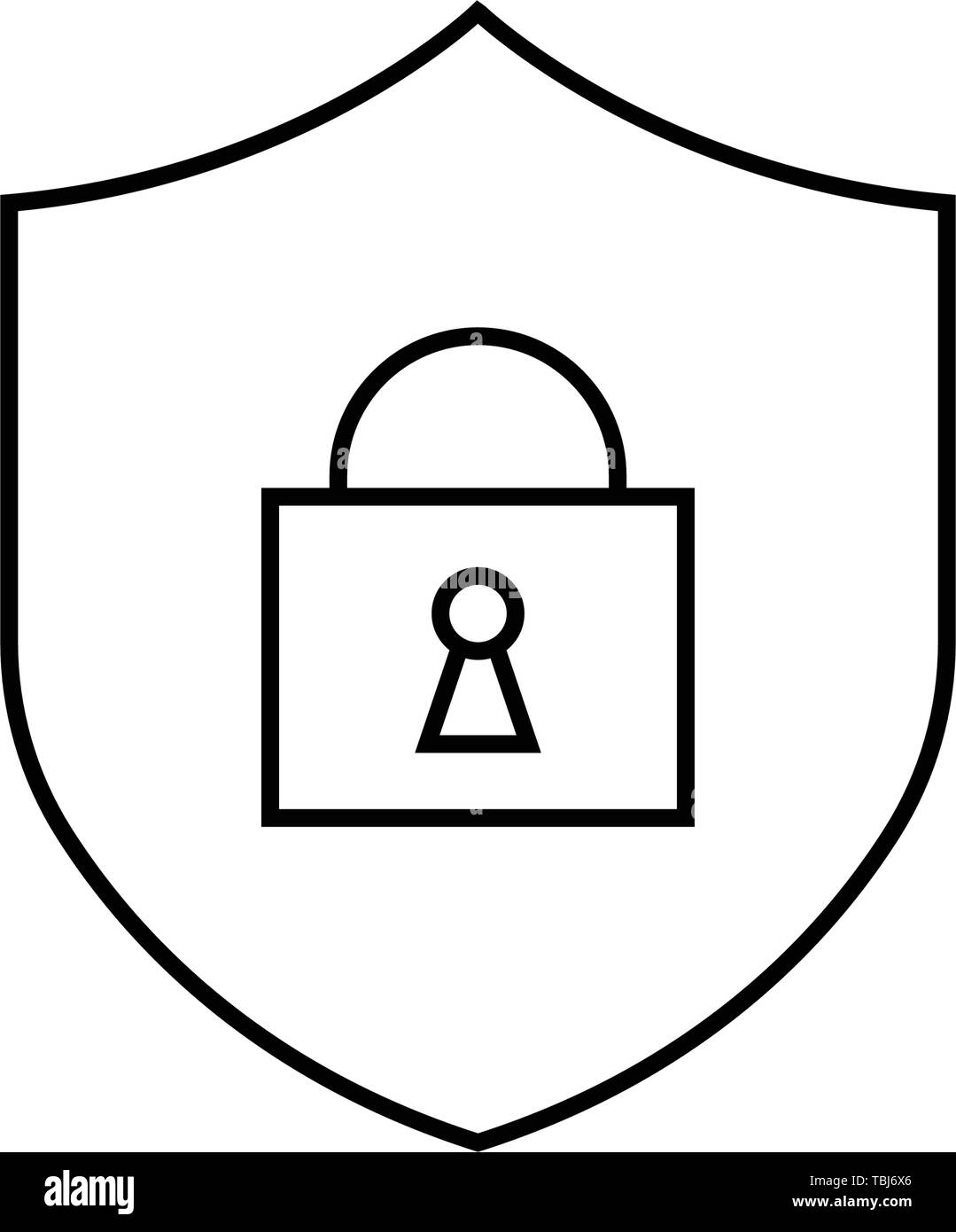 Shield with security lock sign - vector - Stock Image