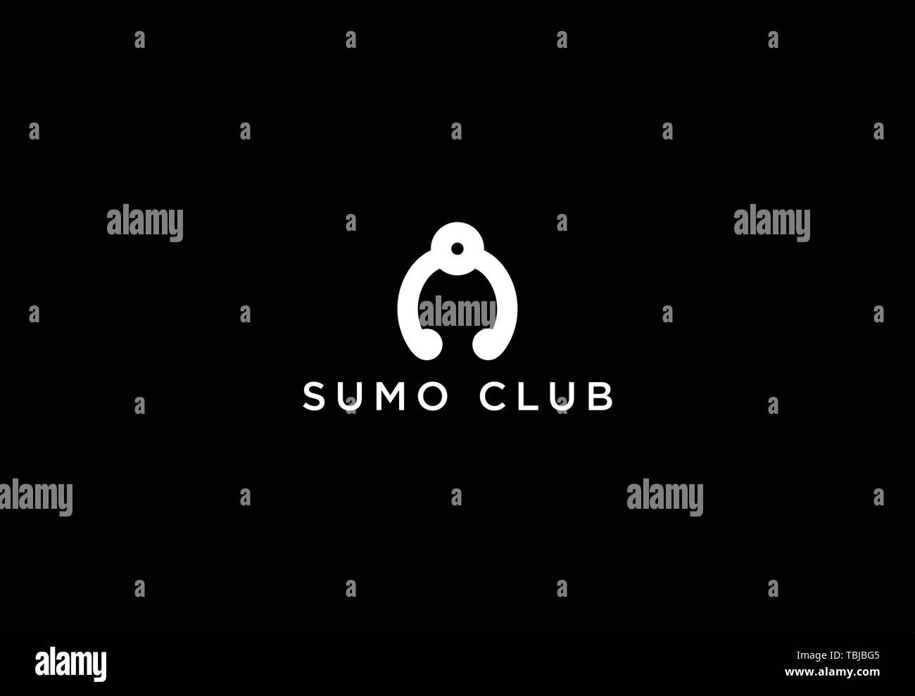 Sumo logo vector - Sumo wrestler logo template - Stock Image