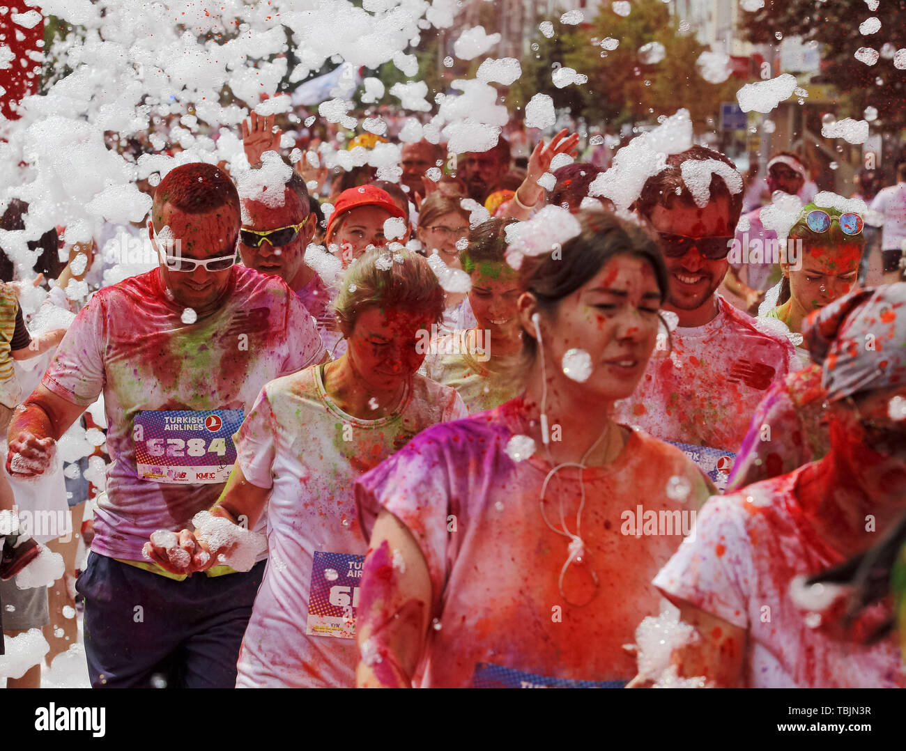 Kiev, Ukraine. 2nd June, 2019. Participants take part in the ''Kyiv Color Run'' in Kiev, Ukraine, on 2 June 2019. From the first event in the United States in January 2012 The Color Run has since spread across the globe leaving a trail of color and happy runners. Credit: Serg Glovny/ZUMA Wire/Alamy Live News - Stock Image