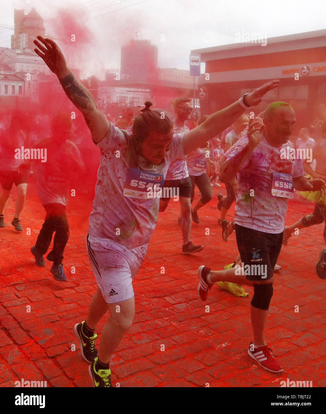 Kiev, Ukraine. 2nd June, 2019. Participants take part in the 2019 Kiev Color Run. From the first event in the United States in January 2012 the Color Run has since spread across the globe leaving a trail of color and happy runners. Credit: Serg Glovny/ZUMA Wire/Alamy Live News - Stock Image