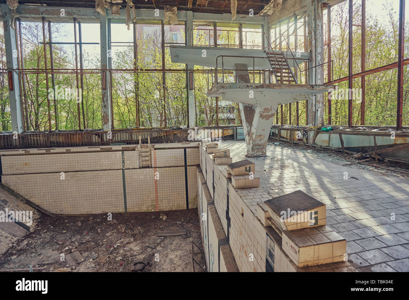 Former swimming pool in Pripyat, the ghost town in the Chernobyl Exclusion Zone which was established after the nuclear disaster - Stock Image