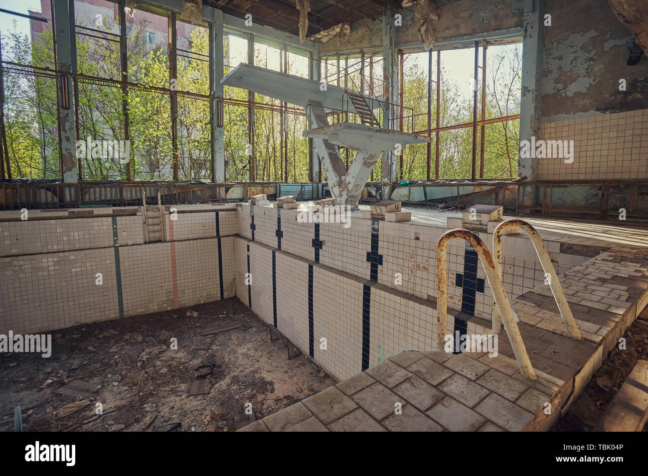 Abandoned Swimming Pool In Pripyat Destroyed Gym In A Radioactive City The Street Is Overgrown With Trees And Bushes Jumping Tamplin Stock Photo Alamy