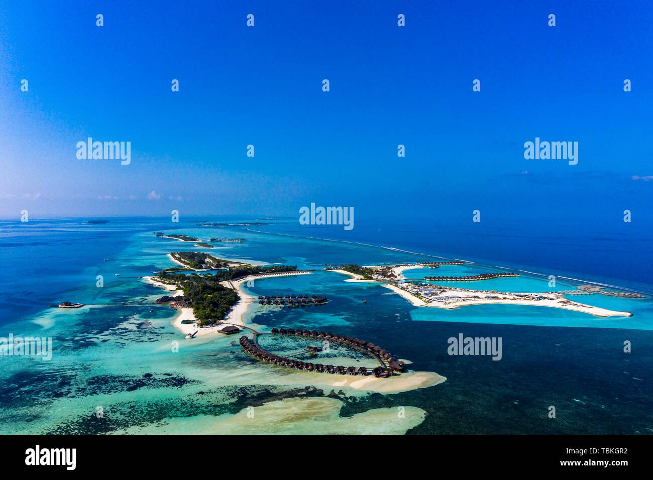 Aerial view, lagoon of the Maldives island Olhuveli and Bodufinolhu respectively Fun Island Resort, South-Male-Atoll, Maledives - Stock Image