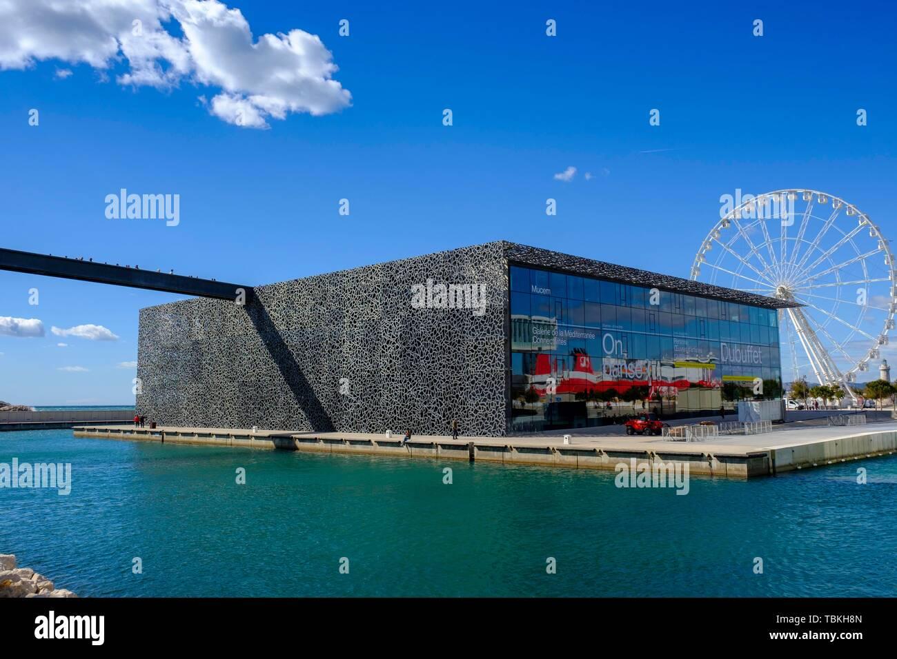 MuCEM, Musee des civilisations de l'Europe et de la Mediterranee, Marseille, Provence-Alpes-Cote d'Azur, France - Stock Image