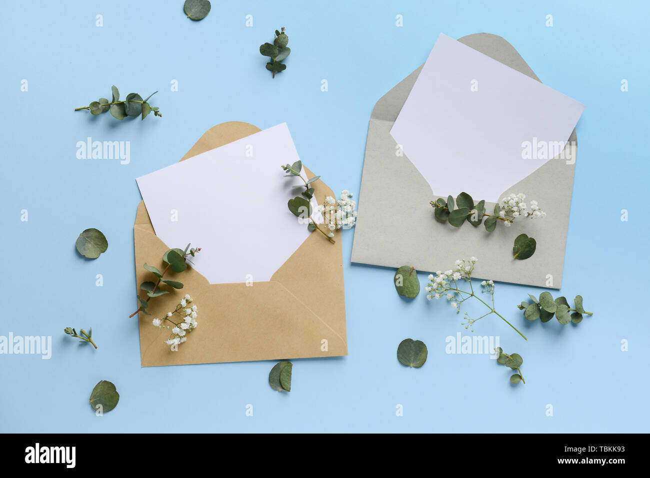Mockups of invitations on color background Stock Photo