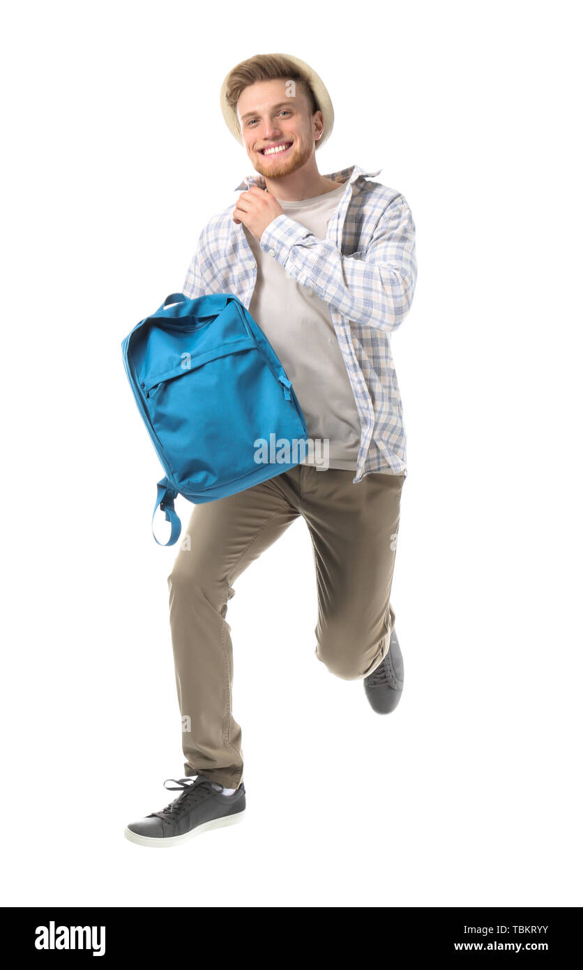Running young tourist on white background Stock Photo