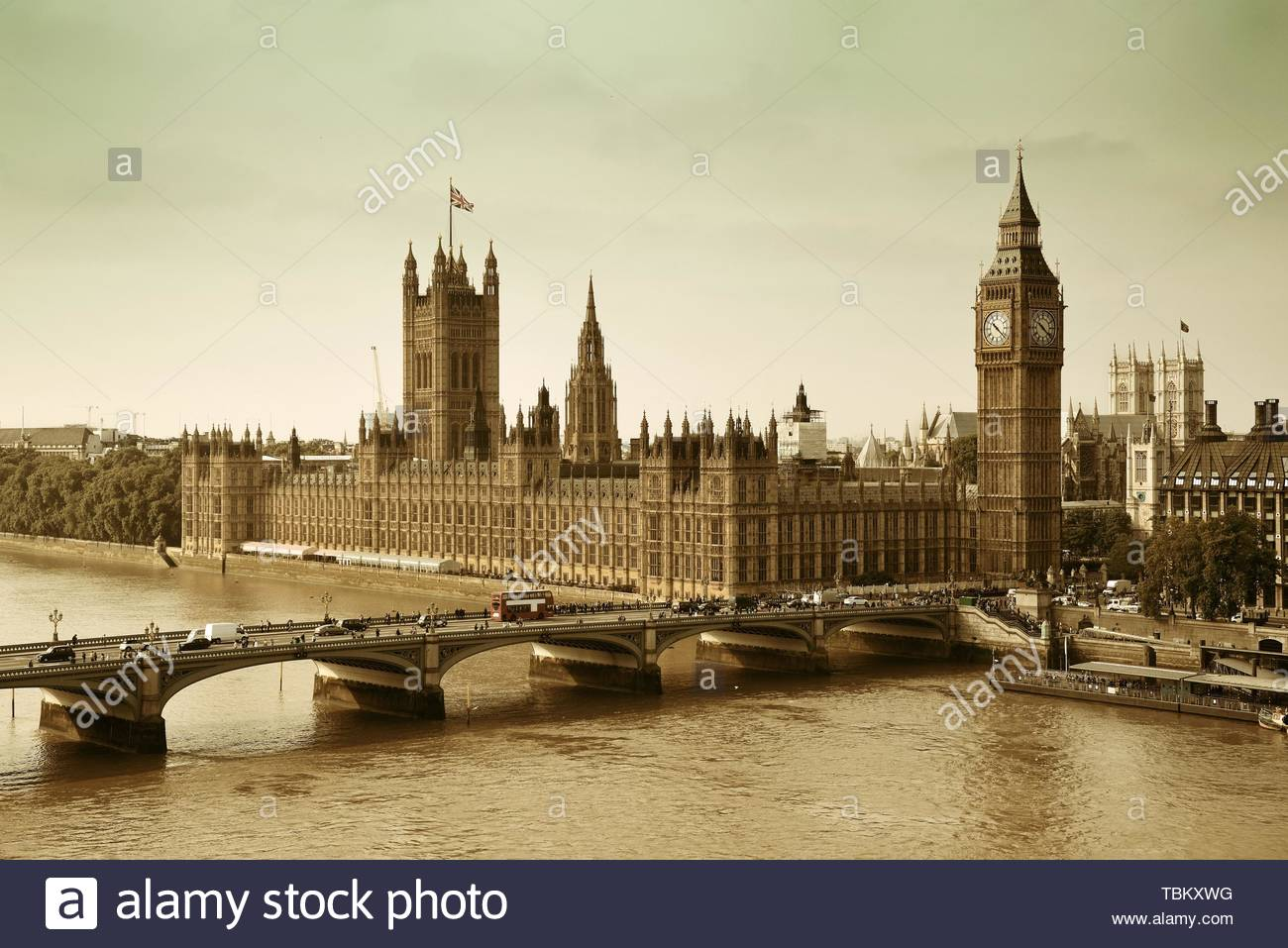 London Westminster with Big Ben and bridge. - Stock Image