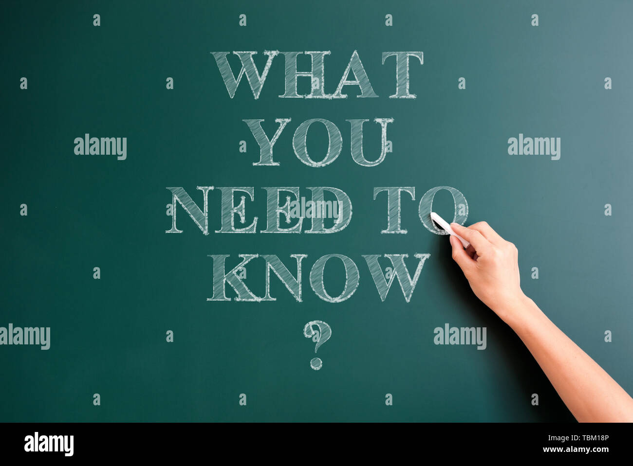 what you need to know written on blackboard - Stock Image
