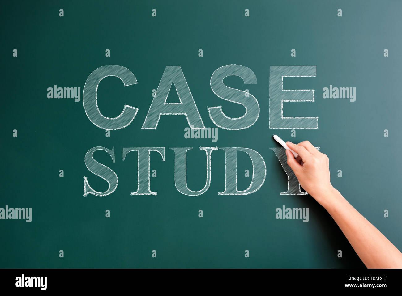 case study written on blackboard - Stock Image