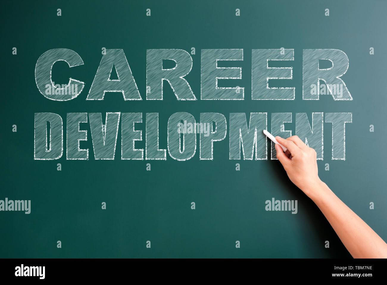 career development written on blackboard - Stock Image