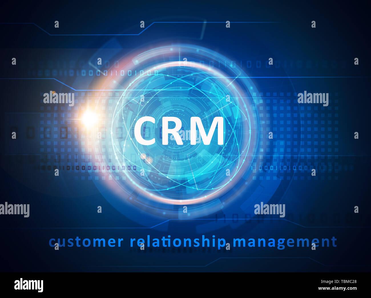 CRM Customer relationship management concept. CRM over blue technology background. - Stock Image