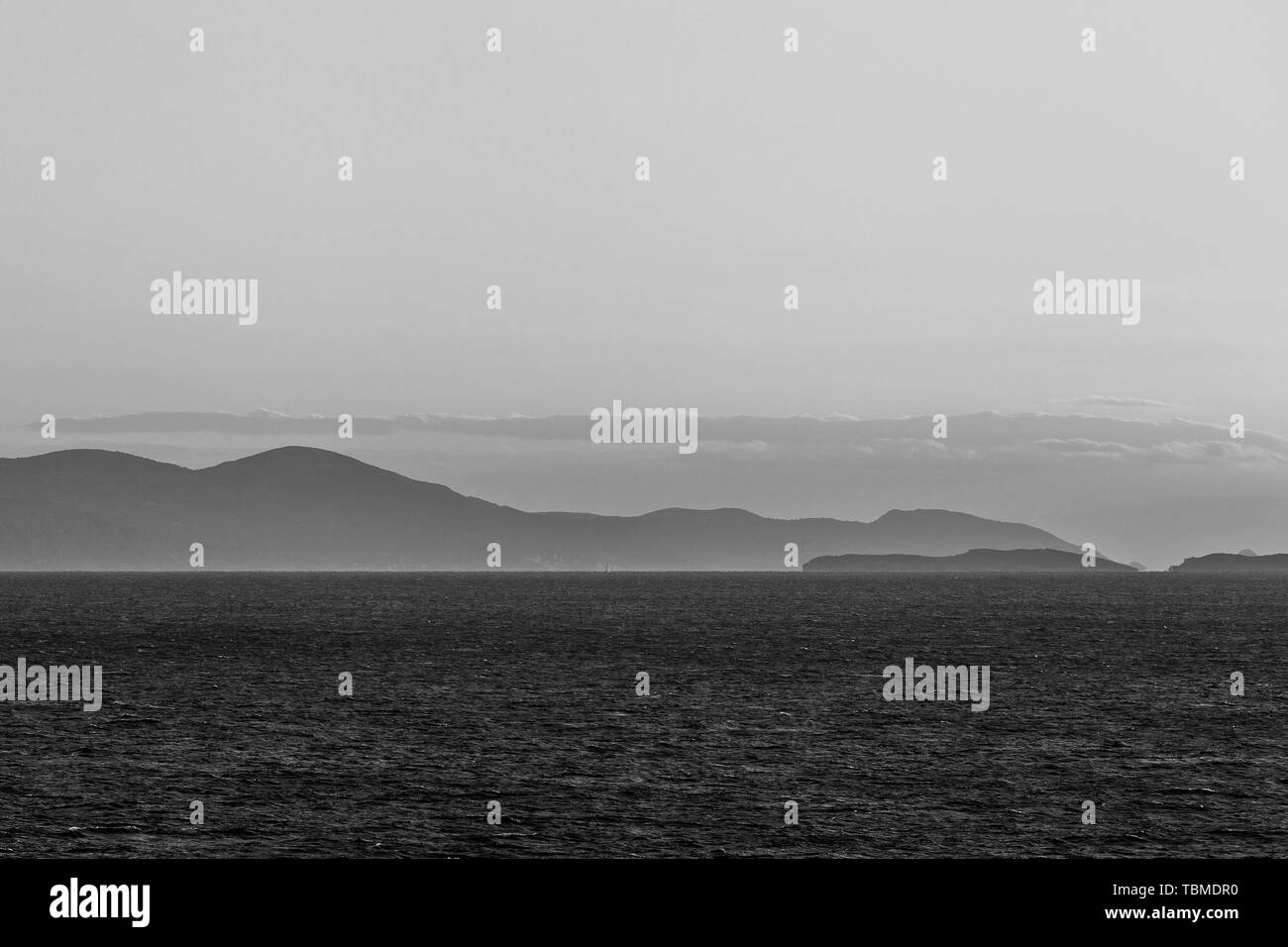 Spectacular black and white effect on the Saronic Gulf islands Stock Photo