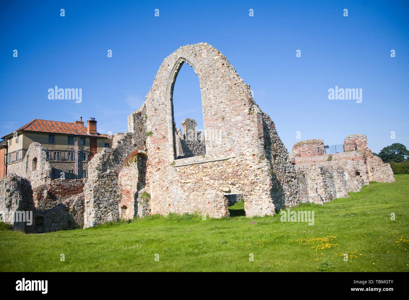 Mainly 14th century remains ruined buildings of Leiston Abbey, Suffolk, England, UK founded c. 1183 by Ranulf de Glanville - Stock Image