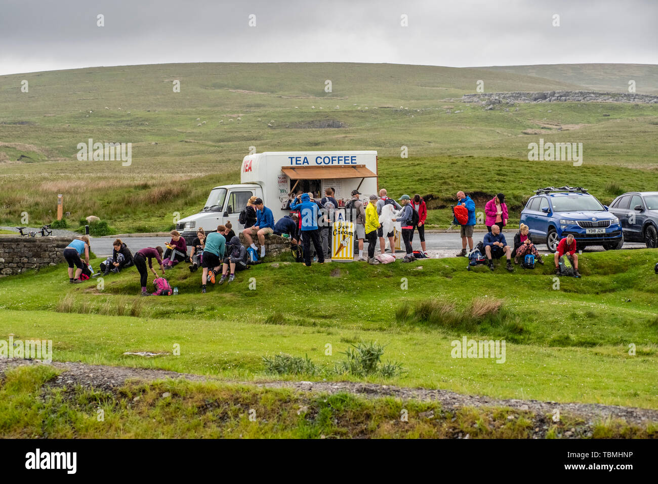 01.06.19 Ribblehead, North Yorkshire, England, UK,Walker approaching Ribblehead Viaduct on the Yorkshire Dales 3 Peaks - Stock Image
