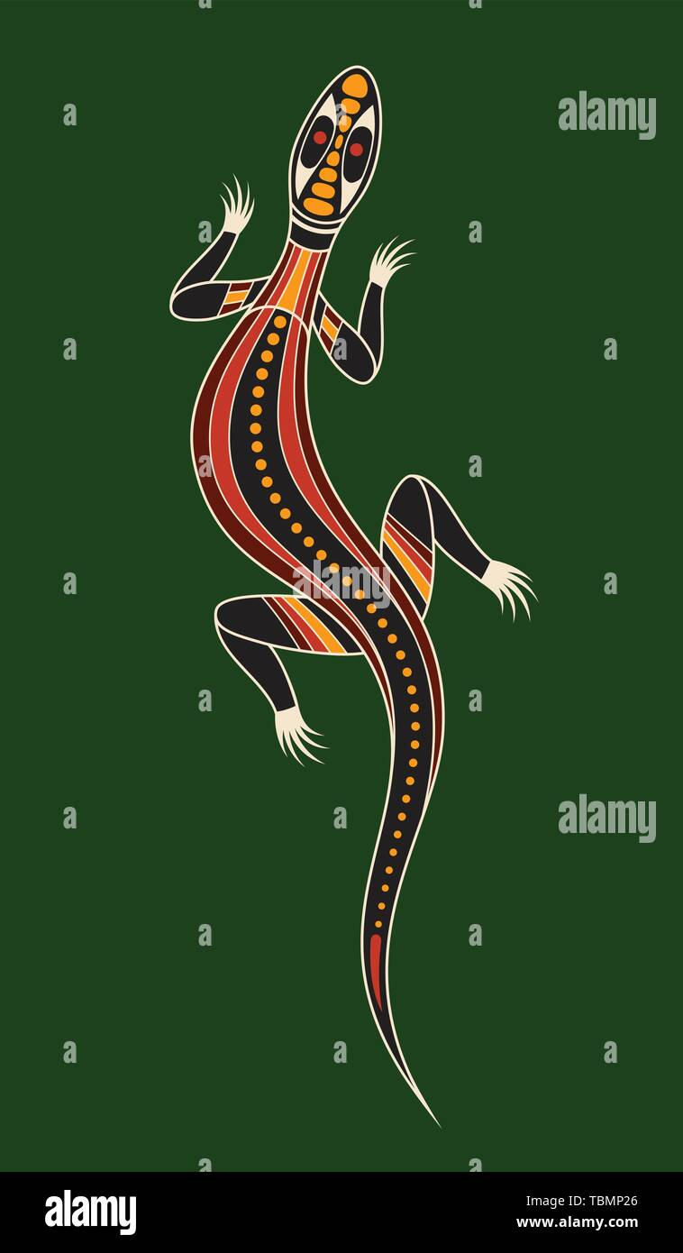 Lizard. Aboriginal art style. Vector color illustration isolated on green background. - Stock Image