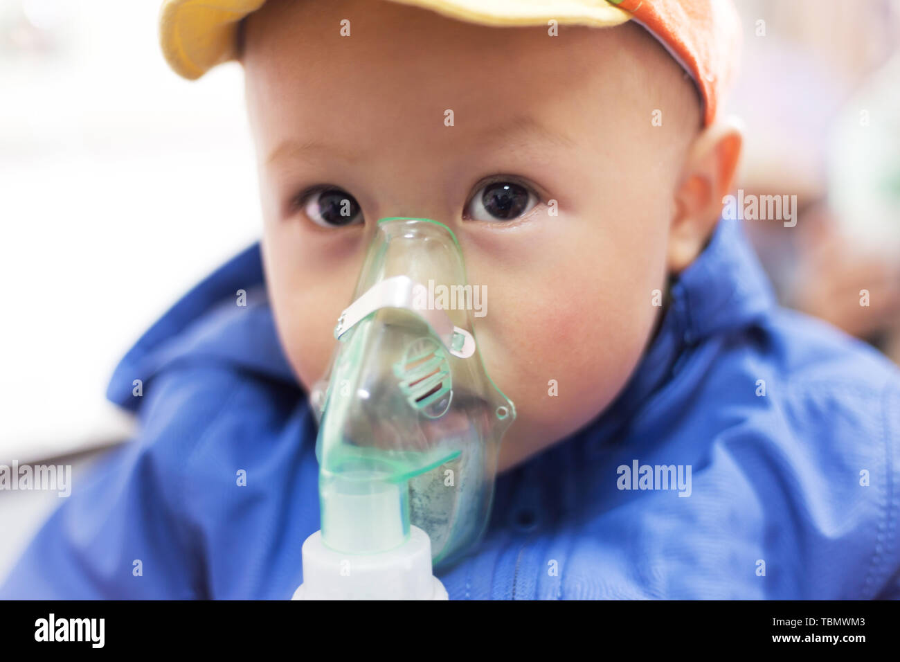 Little boy fell ill with a cold Stock Photo