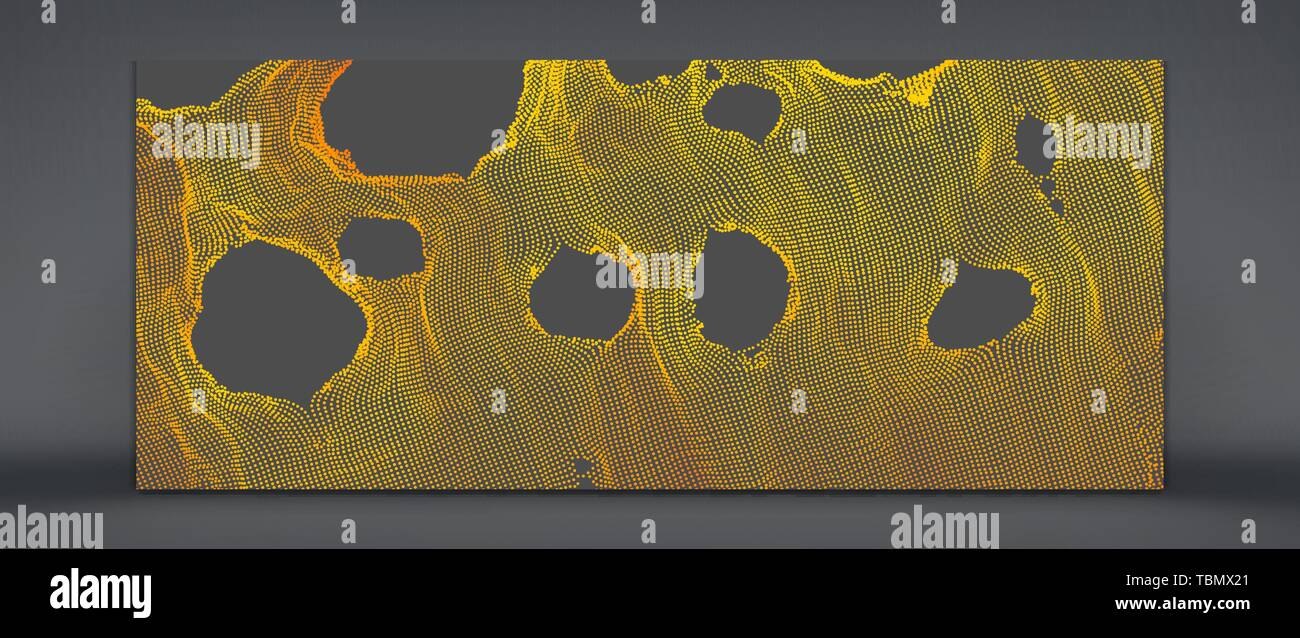 This spiderweb has been broken. Abstract grid background with hole. Array with dynamic particles. Texture. 3D grid surface.  Technology vector illustr - Stock Image