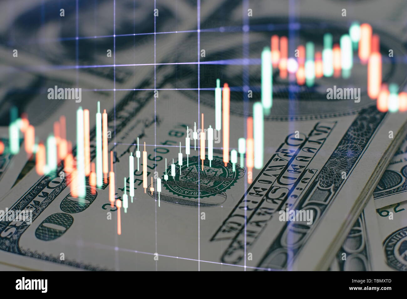 data on a monitor which including of Market Analyze. Bar graphs, Diagrams, financial figures. Forex chart. Stock Photo