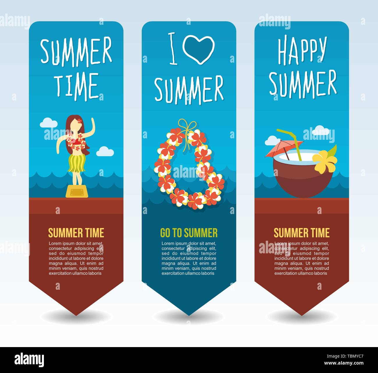 Necklace wreath flower, beach coconut drink cocktail and hula dancer statuette. Summer Travel and vacation vector banners. Summertime. Holiday - Stock Vector