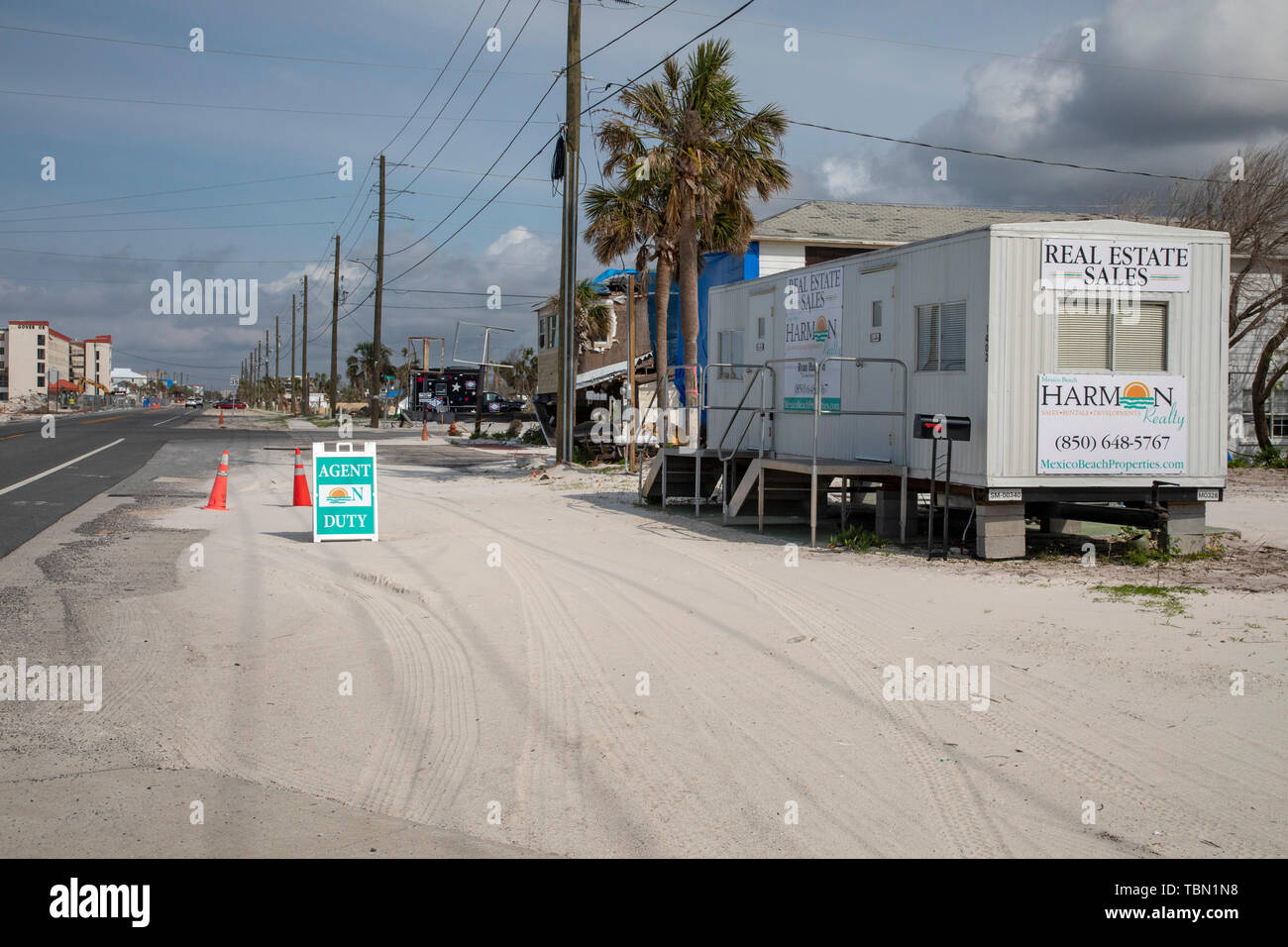 Mexico Beach, Florida - Destruction from Hurricane Michael is widespread seven months after the Category 5 storm hit the Florida Panhandle. A real est - Stock Image