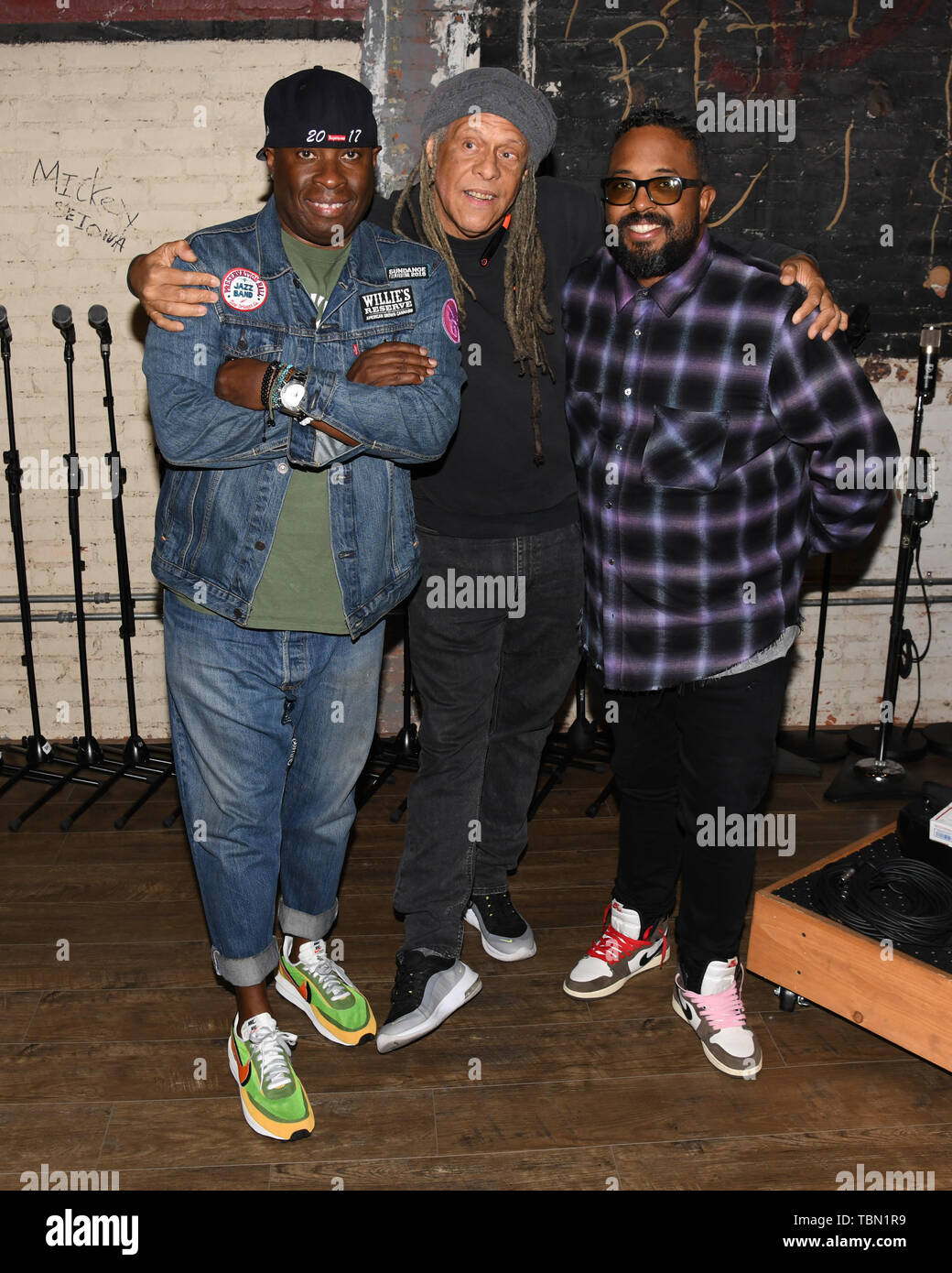 May 31, 2019 - Vince Wilburn Jr., Joe Bloacker and Erin Davis attends the Miles Davis 'Birth Of The Cool' listening event for the 2 LP set at Gold-Diggers for Aquarium Drunkard Los Angeles, California. (Credit Image: © Billy Bennight/ZUMA Wire) - Stock Image