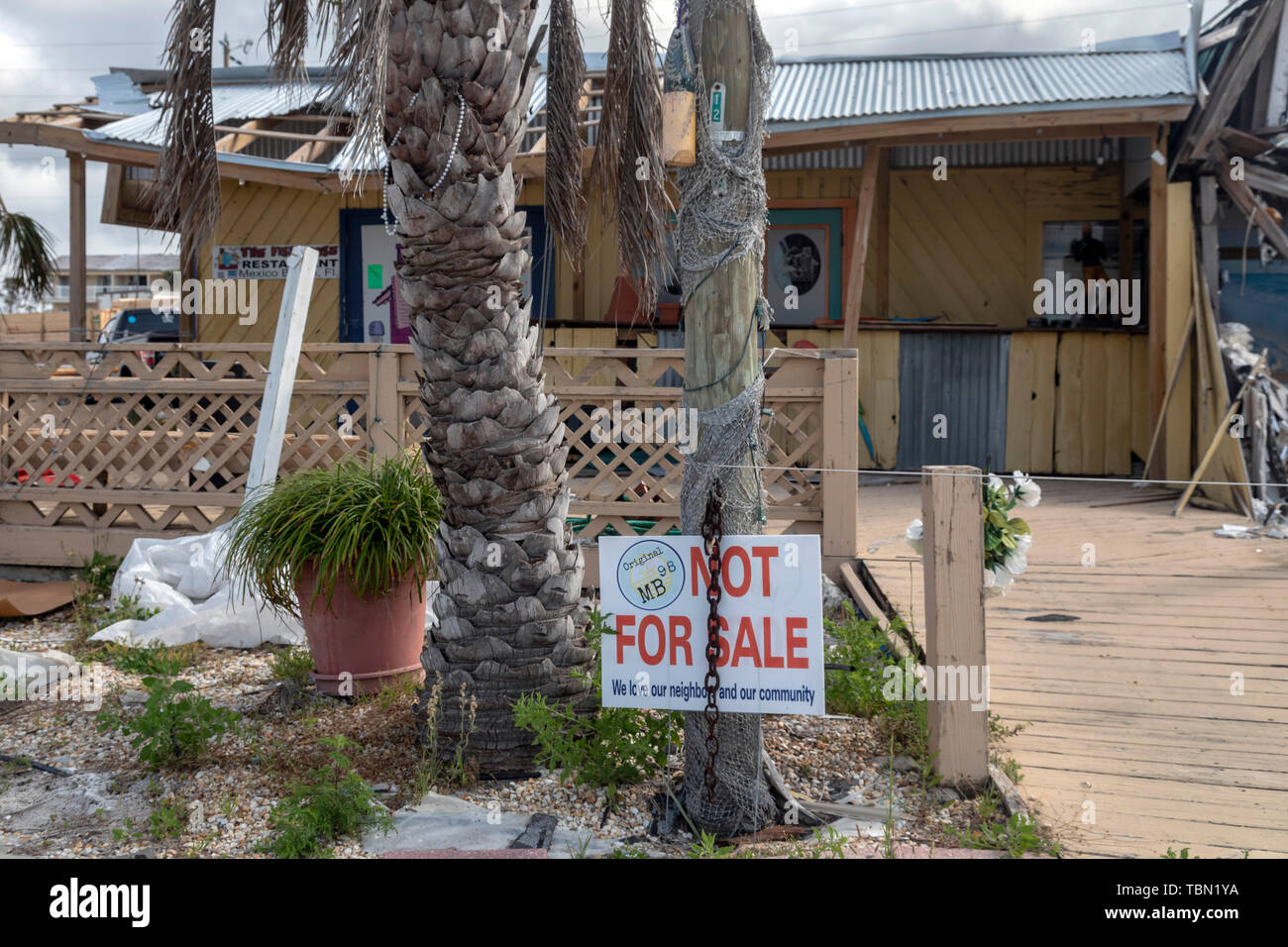 Mexico Beach, Florida - Destruction from Hurricane Michael is widespread seven months after the Category 5 storm hit the Florida Panhandle. Even thoug - Stock Image