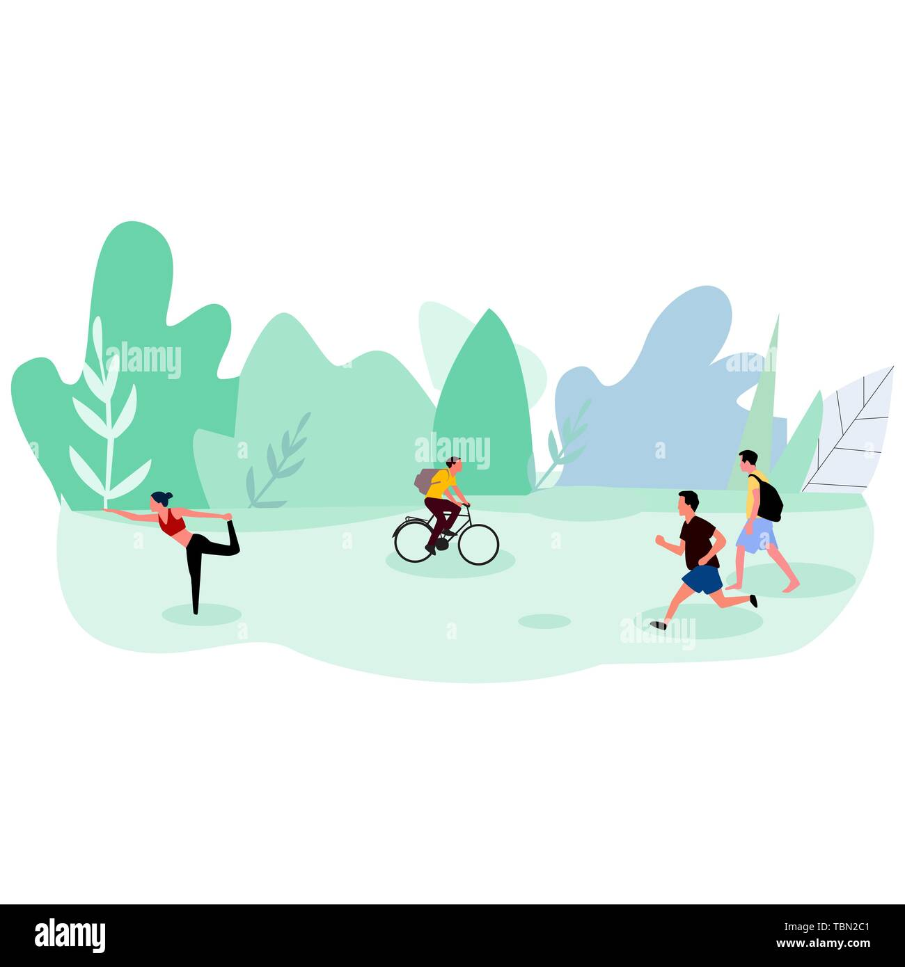 Active people running, riding bicycle in the park. Vector . - Stock Image