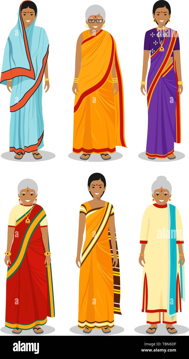 Indian woman. Set of different standing old, adult and young women in the traditional national clothing isolated on white background in flat style - Stock Vector