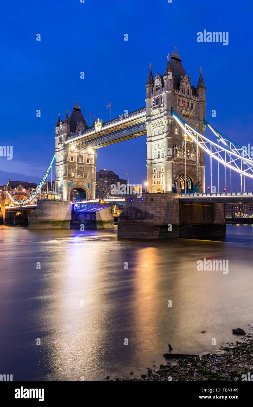 London Tower Bridge Sunset dusk, London UK. - Stock Image