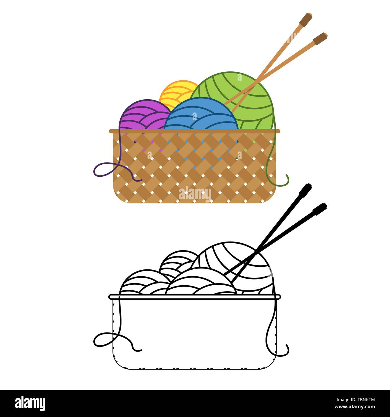 Multicolored balls of yarn lie in a bowl with knitting needles. Vector illustration - Stock Vector