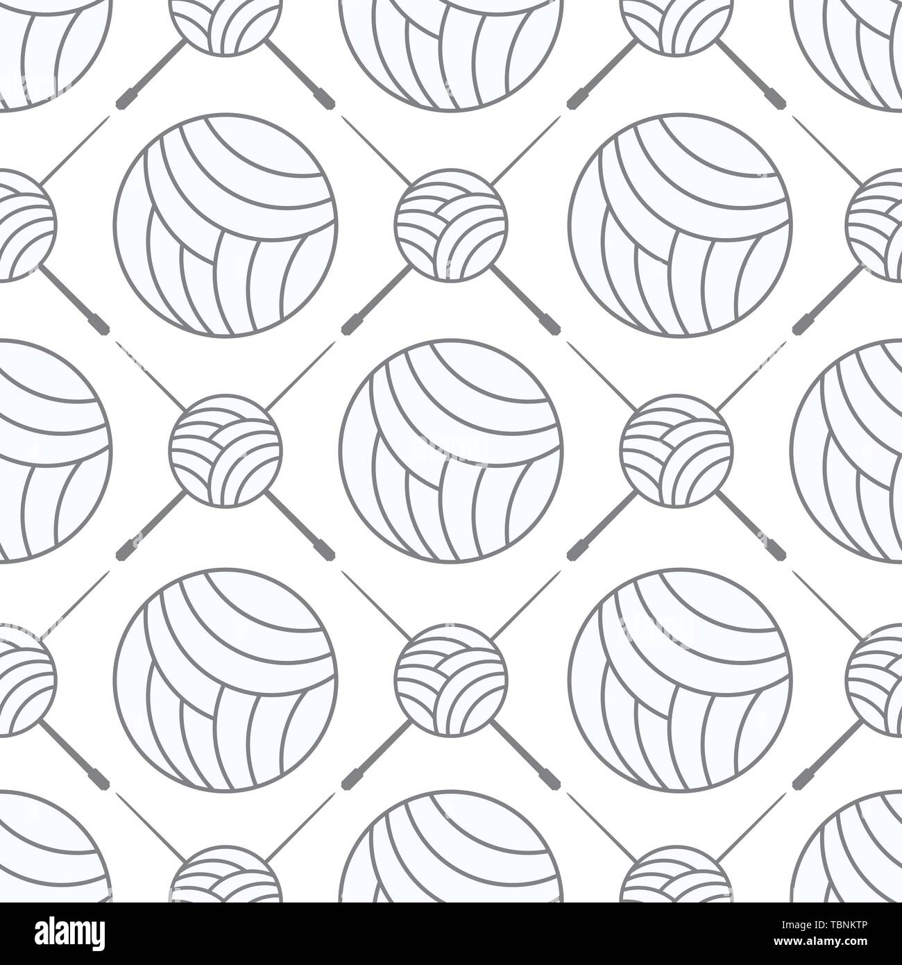 seamless balls of yarn and knitting needles. seamless background needlework, vector illustration - Stock Vector