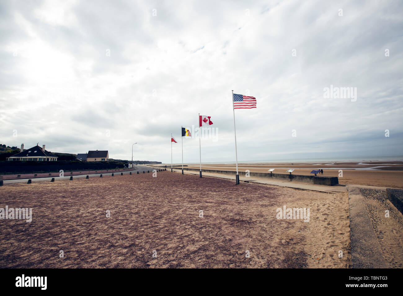 France, Normandy, Omaha, World War II, Normandy landings, D-day, Operation Overlord, landings, monuments, museums, World War II, churches, tanks, cannons Stock Photo