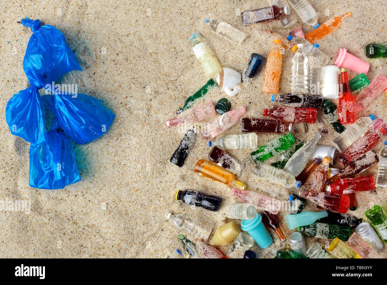 garbage collected on the beach.Top view - Stock Image