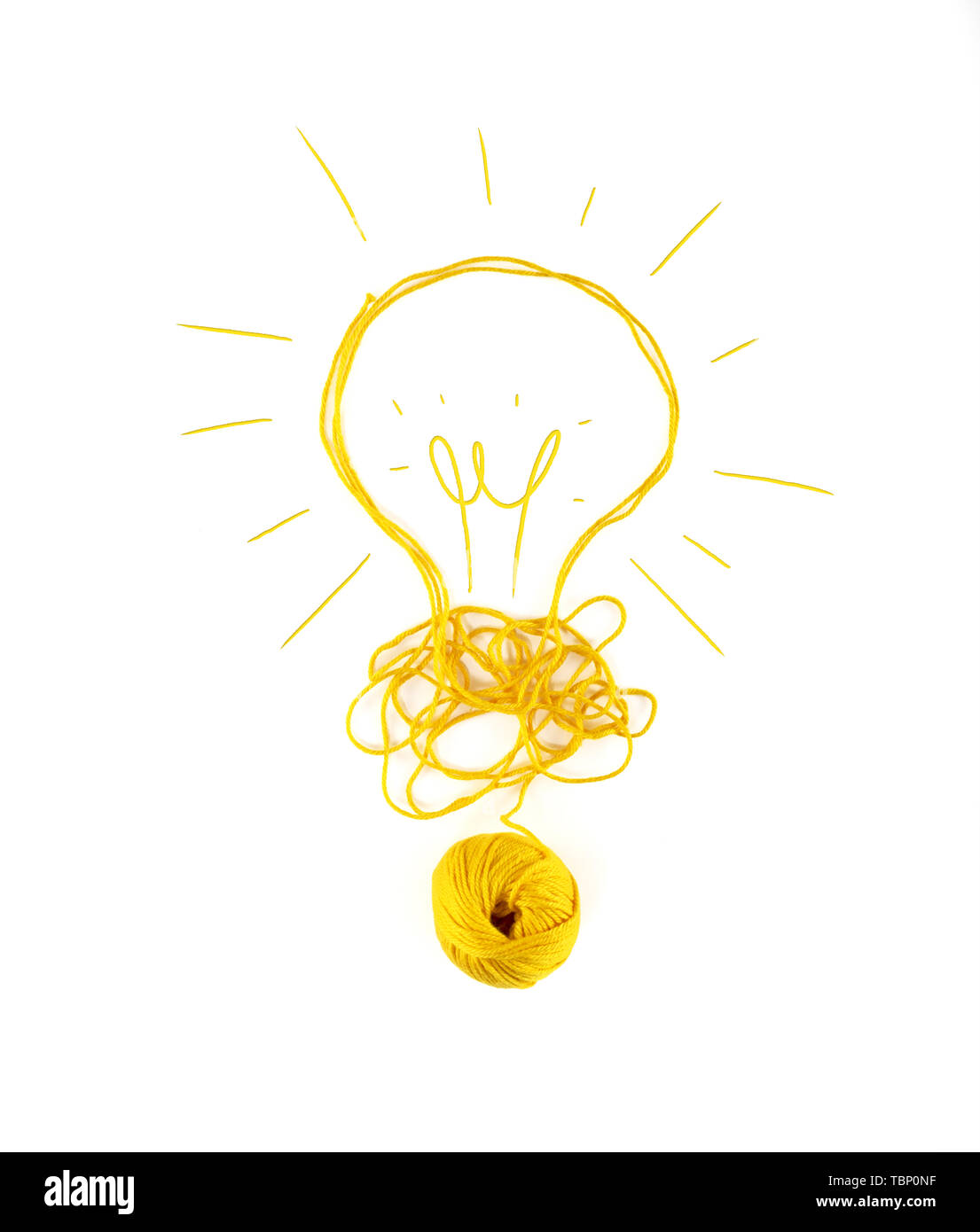 Concept of idea and innovation with wool ball. - Stock Image